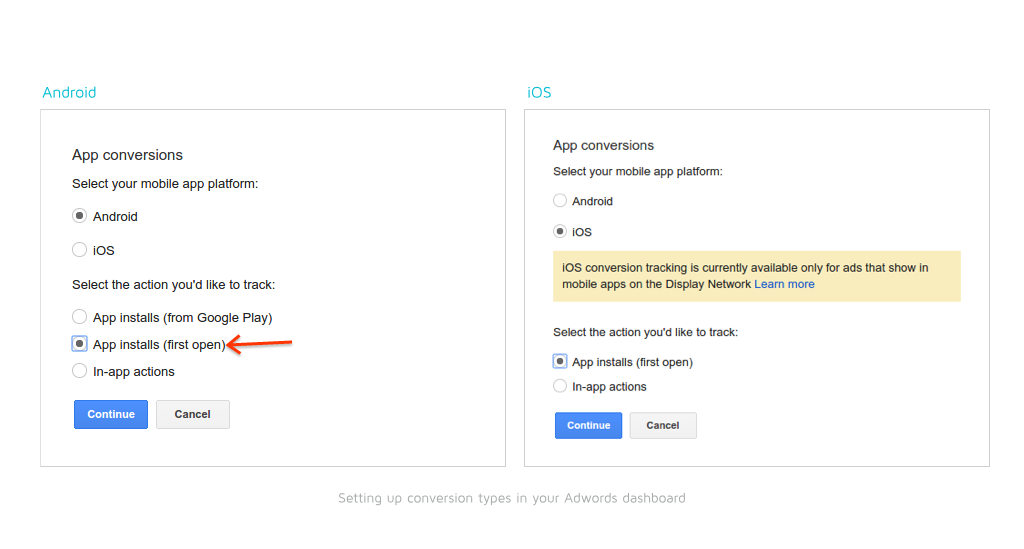 Setting conversion types in your Adwords dashboard